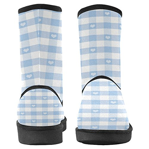 InterestPrint Womens Snow Boots Unique Designed Comfort Winter Boots Hearts and Gingham Multi 1 7O8QD0