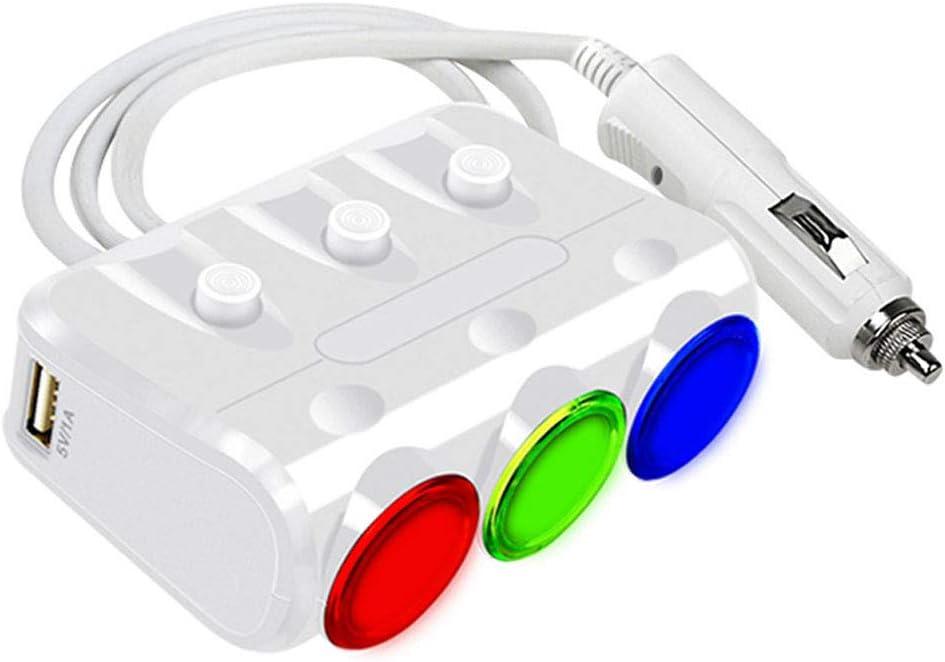 Grebest Car Lighter Car Charger Adapter 3 Sockets Lighter DC 12-24V 3.1A Dual USB Ports Car Charger Adapter White