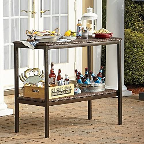 Outdoor serving tables amazon outdoor buffet serving table from stratford features 2 durable shelves made of all weather wicker and durable rust resistant steel frame ideal for dining watchthetrailerfo