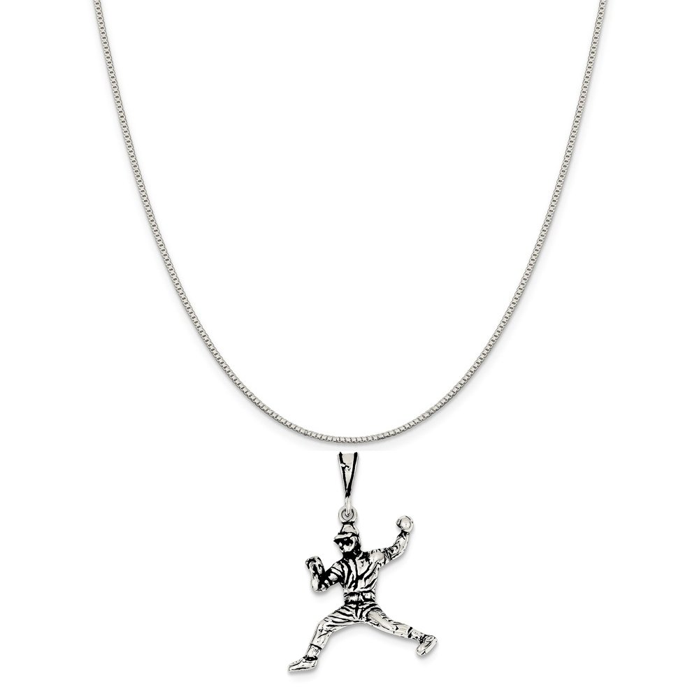 Mireval Sterling Silver Antiqued Baseball Player Charm on a Sterling Silver Chain Necklace 16-20