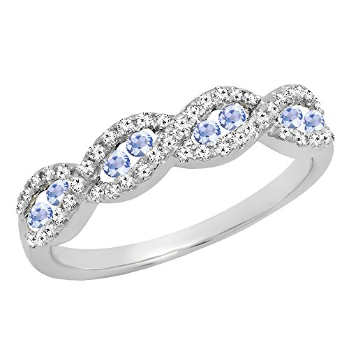 Dazzlingrock Collection 10K White Gold Round Tanzanite & White Diamond Ladies Anniversary Wedding Band (Size 7.5) - Tanzanite White Gold Band