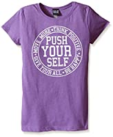 Fifth Sun Big Girls' Inspirational Graphic T-Shirt, Purple Push Yourself, Medium/7-8