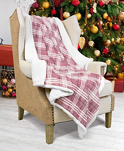 (Plaid Sherpa Throw Blanket,Plush Flannel Throws for Couch and Bed,Super Soft Reversible TV Blanket,Comfort Caring Gift 50