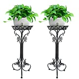 Pack of 2 Black Iron ArtFlowerPot Stands with 1 Pots Planter Holder,Indoor Outdoor Garden Patio Plant Bonsai Decorative Display Flower Rack