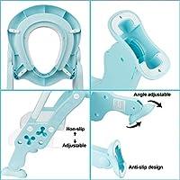 KEPLIN - Escalera de aprendizaje infantil para asiento de inodoro con escalón ancho antideslizante y cojín suave azul azul: Amazon.es: Bebé