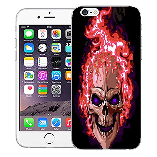 "Mobile Case Mate iPhone 6S 4.7"" Silicone Coque couverture case cover Pare-chocs + STYLET - Red Fire Skull pattern (SILICON)"