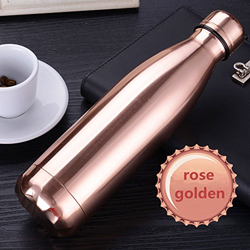 SEPT MIRACLE Vacuum Insulated Stainless Steel Colorful Water Bottle Leak-proof Double Walled Sport Cups (500 ml) (Rose - Go You Need You When What Do Camping