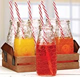 Circleware Country Rooster, Set of 13, Glass Milk Drink Bottles with Strong Straws and Wooden Tray, 10 Ounce, 6 Beverage Cups, 6 Straws 1 Wooden Tray with Handles, Limited Edition Glassware Drinkware