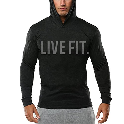Chns Men's Gym Workout Bodybuilding Long Sleeve Casual Hoodie Sweatshirts Live Fit Letter Printed Training Sports Pullover Black-S