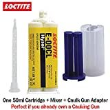 Loctite EA E-00CL (29289) Clear Chemical Resistent Machinable Epoxy (50ml/1.7oz) Caulk Gun Adapter Kit
