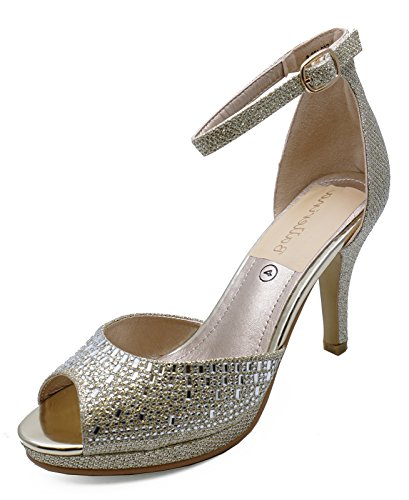 HeelzSoHigh Ladies Gold Bridesmaid Bride Wedding Bridal Diamante Sandals Prom Shoes Sizes 3-8 wZ7DM3