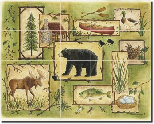 ''Woodland Sampler II'' by Donna Jensen - Artwork On Tile Ceramic Mural 17'' x 21.25'' Kitchen Shower Backsplash
