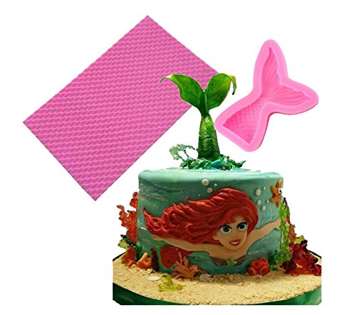 Yunko Mermaid Scales Mat and Silicone Jelly Sugar Chocolate Fondant Mermaid Tail Molds Set of 2 (Little Mermaid Cake Mold)