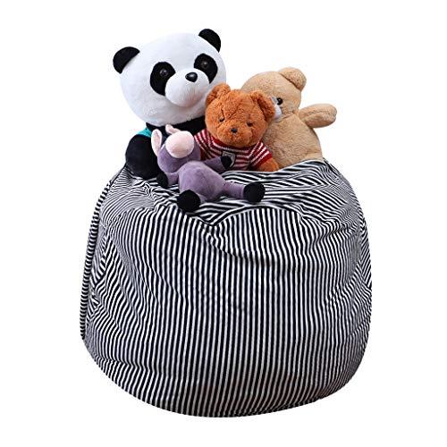 Gotian Toy Storage Bag, Kids Stuffed Animals Plush Toy Storage Filled Turns Bean Bag Soft Pouch Stripe Filler, Kids Rug Portable Kids Toys Organizer Storage Bag Play Mat (Dark Gray) ()