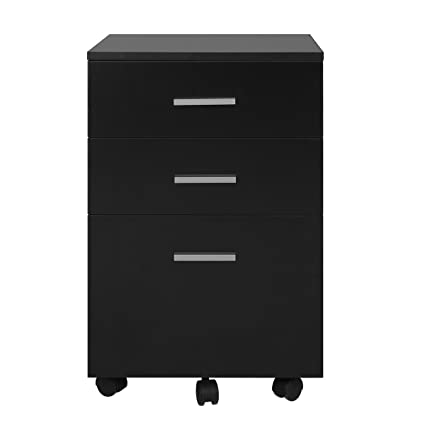 Bon DEVAISE 3 Drawer Lateral Wood Mobile Filing Cabinet, Letter Size/A4, Black