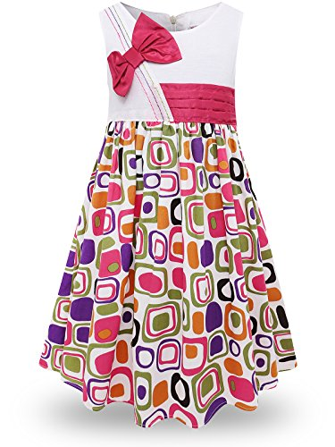 Bonny Billy Girls Classy Vintage Floral Swing Kids Party Dresses (3-4 Years, Geometric)