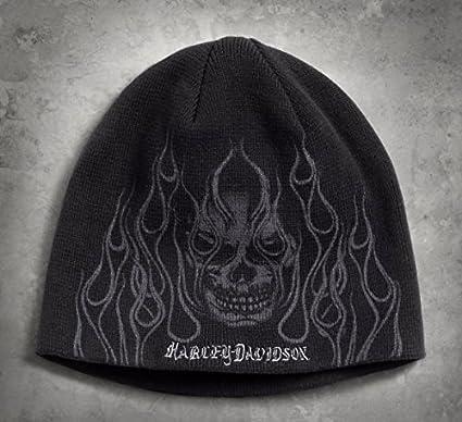 Gorra de algodón Orig. Harley Davidson Skull & Flames Knit Hat ...