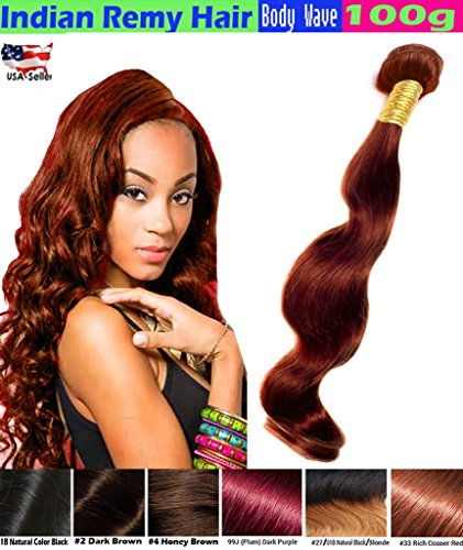 eCowboy BODY WAVE Indian Human Hair 6A Bundle Hair Weave Extensions GREAT DEAL 100 Human Hair GUARANTEED Weft Track Beautiful Vibrant Auburn #33 Color-14 Inch