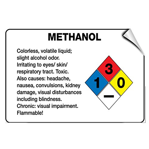 Methanol Irritating To Eyes Skin Respiratory Tract LABEL DECAL STICKER 10 inches x 14 inches