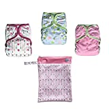 EcoAble Baby Day & Night All-In-One AIO Cloth Diapers, Size 10-35Lb, 3-Pack Bundle (Girl)
