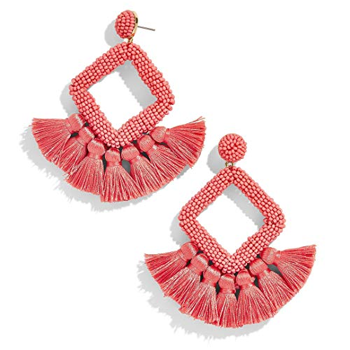 (FANJURNEY Beaded Statement Tassel Earrings,Handmade Earring, Bohemian Dangle Fringe Earrings for Women, Idea Gift for Sister, Wife and Friend (Pink))