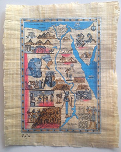 Egyptian Papyrus Painting of Ancient Egypt Map Hand Painted on Handmade Papyrus Paper