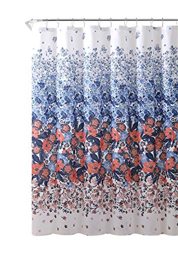 "Decorative Fabric Shower Curtain: Elegant Contemporary Floral Design 72"" x 72"" inch"