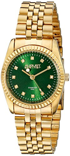 August Steiner Women's AS8170GN Gold Quartz Watch with Green Dial and Yellow Gold Bracelet
