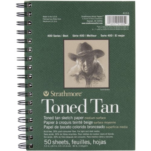 "Strathmore Drawing 400 Series Toned Tan Sketch Pad, 5.5""x8.5"", 50 Sheets"
