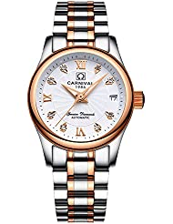 CARNIVAL Womens Automatic Mechanical Watch Fashion Rose Gold Dress (White)