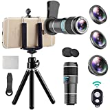 iPhone Telephoto Lens, 4 in 1 Cell Phone Camera Lens,12x Telephoto Lens+ 0.6x Wide Angle Lens + Macro Lens + Fisheye Lens,Clip-On Lenses for iPhone x 8 7 6 plus, Samsung Smartphone + Remote Shutter