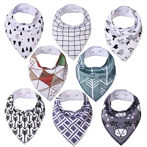 Baby Bandana Bibs for Boys Girls, Cotton Drool Teething Bibs for Newborn Infant Toddler, Baby Stuff Shower Registry Gift, 8 Pack (Style A)