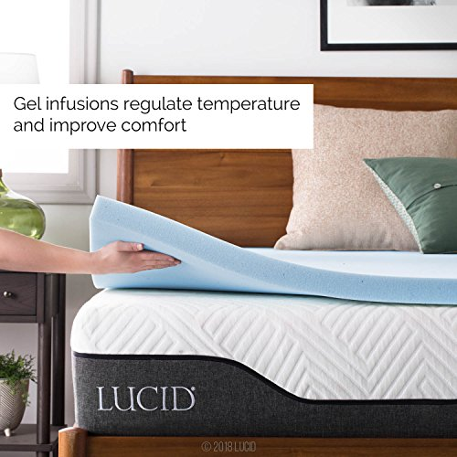 LUCID 2-Inch Ventilated Gel Infused Memory Foam Mattress Topper - Queen