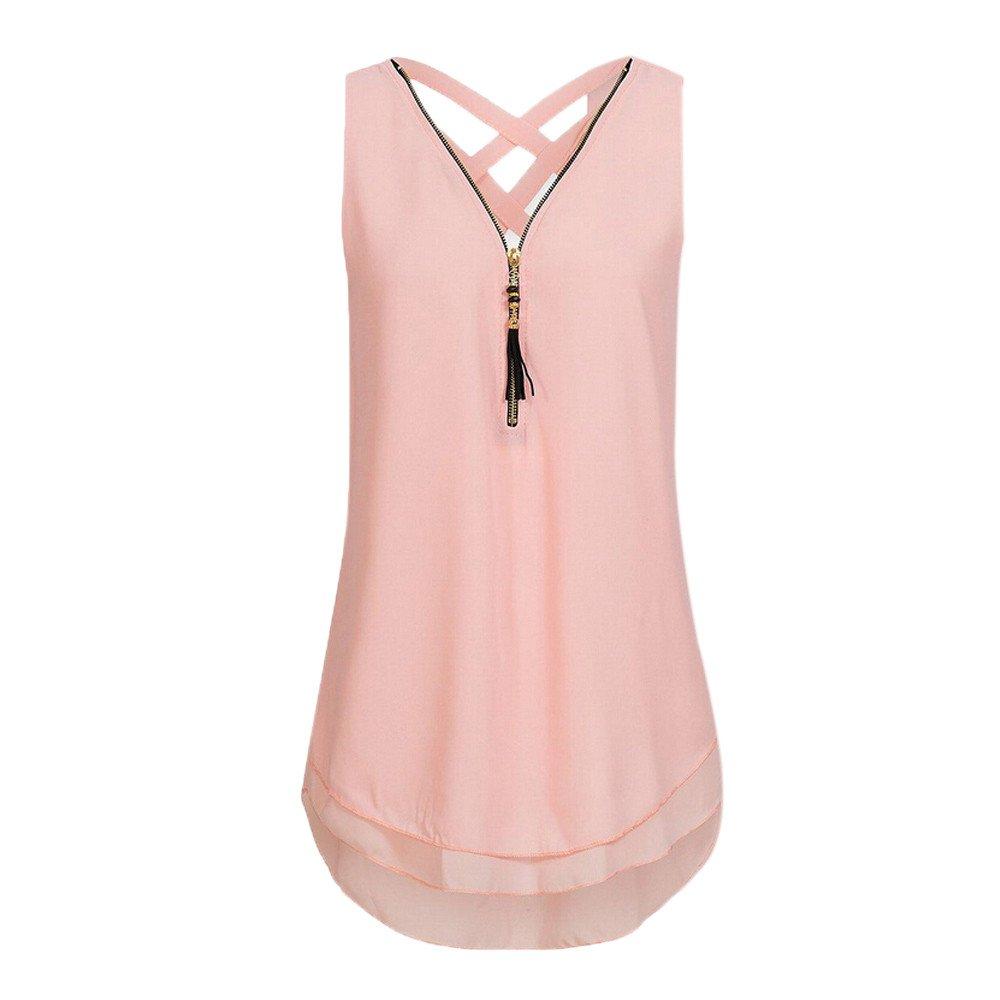 Women Loose Sleeveless Tank Top Cross Back Hem Layed Zipper V-Neck T Shirts Tops Girls (M, Y-Pink)