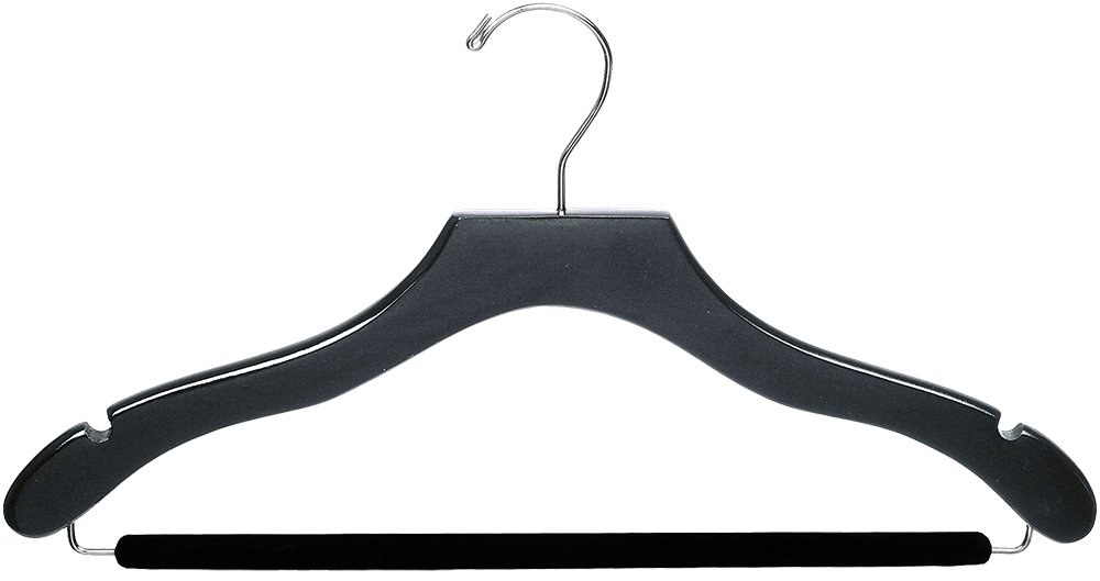 The Great American Hanger Company Wavy Black Wood Suit Hanger w/Velvet Non-Slip Bar, Box of 50 Space Saving 17 Inch Flat Wooden Hangers w/Chrome Swivel Hook & Notches for Shirt Dress or Pants