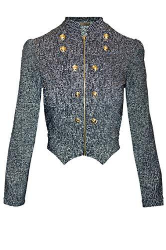 HyBrid & Company Women's Military Crop Stretch Gold Zip up Blazer Jacket KJK1125 10691 Black/IVOR S by HyBrid & Company