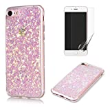 Fit for iphone 5 / 5S / SE Case with Screen Protector,OYIME Slim Rubber [Glitter Pink Sequins] Shiny Bling Luxury Design Scratch Resistant Protective Back Cover with Clear Transparent Bumper