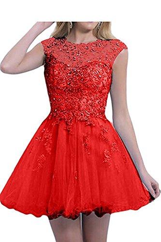 Rot Cocktailkleider Tanzenkleider Promkleider Rock Spitze Braut Damen La Herrlich Mini mia Kurz Abendkleider Pink Ballkleider O6aq8wC
