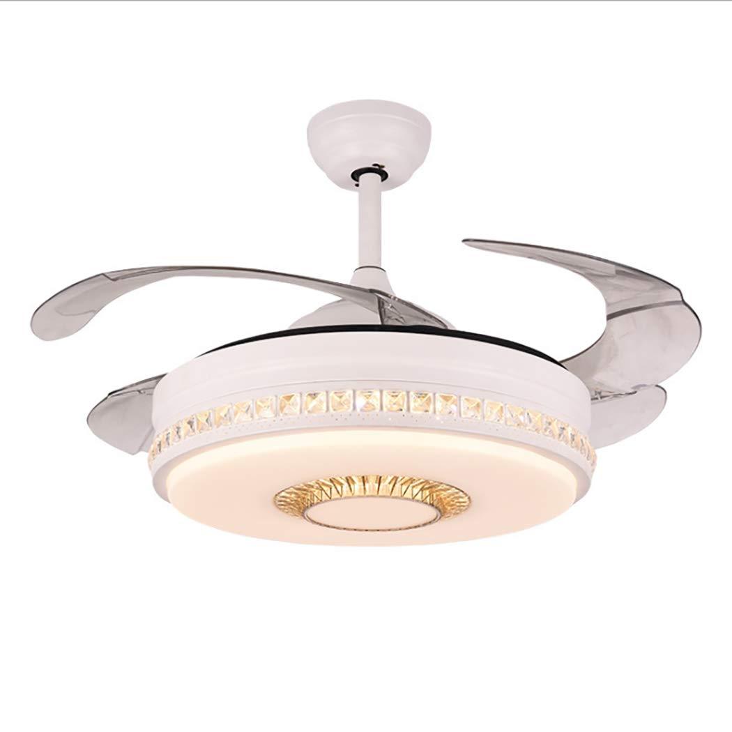 現代の現代的な天井のファンライト42 '' 3色調光対応LEDライト見えない格納式ブレード3スピードコントロール付きリモコン天井ファン   B07MW7FS51