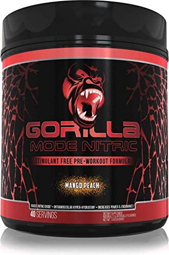 Gorilla Mode Nitric Stimulant Free Pre Workout – Massive Pumps Vasodilation Power – L-Citrulline, Creatine, GlycerPump , Agmatine Sulfate, Nitrosigine , VasoDrive-AP – 695 Grams Mango Peach