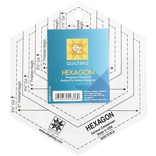 EZQuilting EZ International 882670181A Rotary Cutting Shapes Hexagon Clear