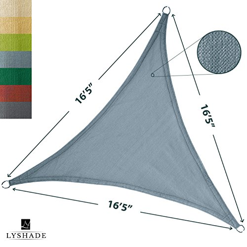 LyShade 16'5'' x 16'5'' x 16'5'' Triangle Sun Shade Sail Canopy (Cadet Blue) - UV Block for Patio and Outdoor by LyShade