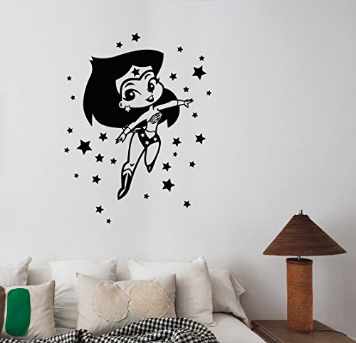 Wonder Woman Sticker Vinyl Decal DC Comics Art Housewares Decorations for Home Interior Girls Room Playroom Wall Decor (Female Cartoon Characters Names)