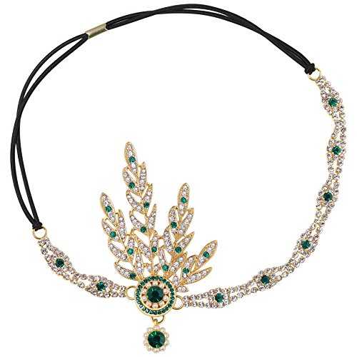 Babeyond Art Deco 1920's Flapper Great Gatsby Inspired Leaf Medallion Pearl Headpiece Headband (Green) -