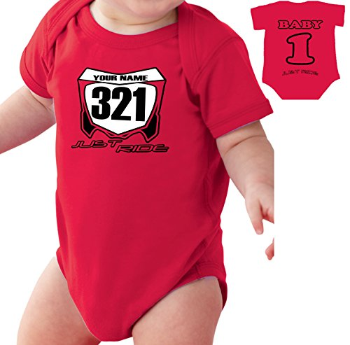 (Motocross Baby Number Plate One Piece Creeper Personalized CR Red (12 Month))