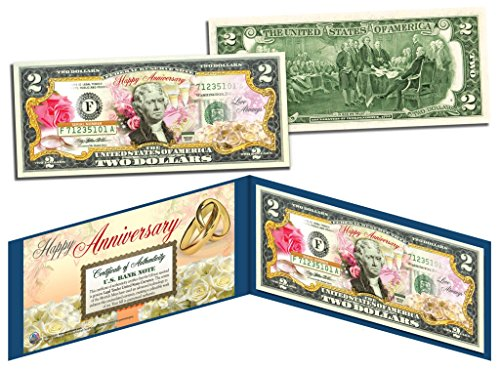 HAPPY ANNIVERSARY Keepsake Gift Colorized $2 Bill U.S. Legal Tender with Folio by Merrick Mint