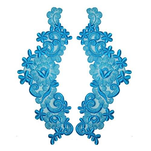 """14 Colors 9""""x3"""" Floral Embroidered Sheer Organza Motif Applique Patch by Pair (2 Pieces) (Turquoise)"""