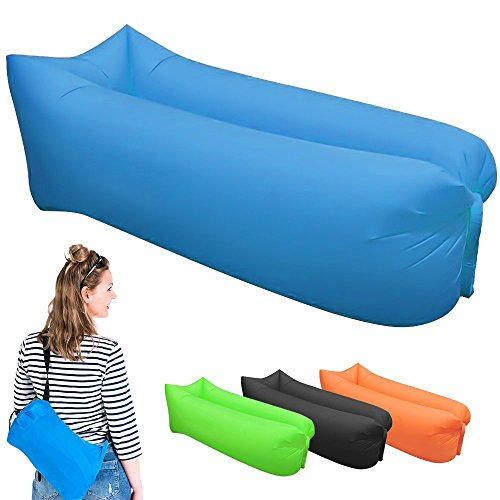 KD Lounger, Portable Air Beds Sleeping Sofa Couch for Travelling, Camping, Beach, Park, Backyard (Blue)