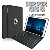 2018 iPad 9.7/2017 iPad 9.7 Keyboard Case,NOKBABO 7 Color Backlit Aluminum Hard Shell Bluetooth Keyboard Case for iPad 5th and 6th Generation (NOT for iPad Pro 9.7) (Black)