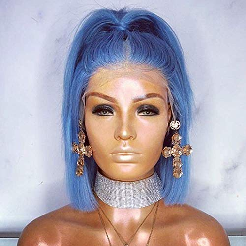 Blue Lace Front Wig With Natural Hairline,Glueless Synthetic Shoulder Length Blue Short Wigs For Black Women African American 14 inches (Gift With One Wig Cap And Bracelet)]()